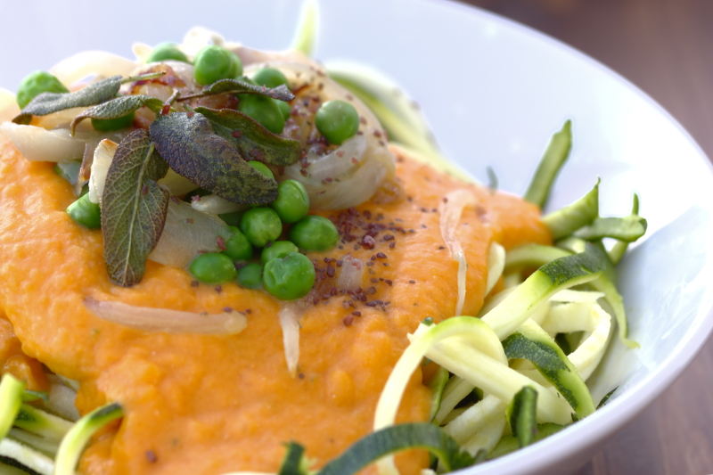 Zucchini noodles and roasted pumpkin sage sauce
