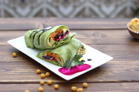 green veggie wraps and chickpeas