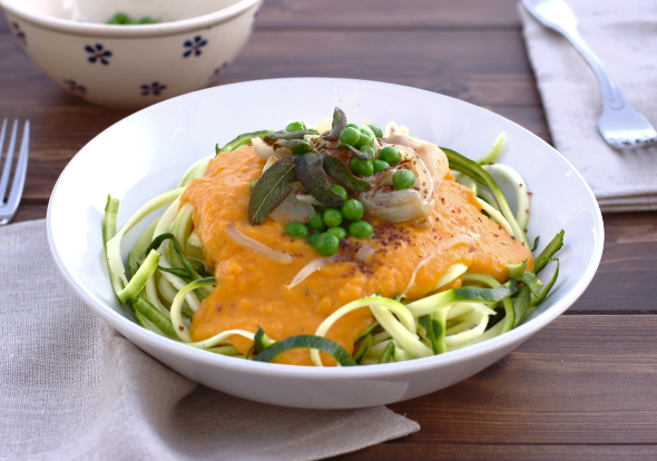 zucchini noodles and pumpkin sage sauce