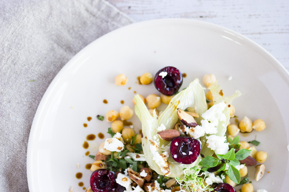 Cherry Chickpea Salad quarter