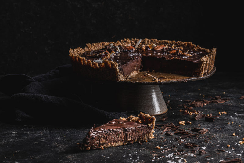 Vegan and gluten free triple Chocolate Tart